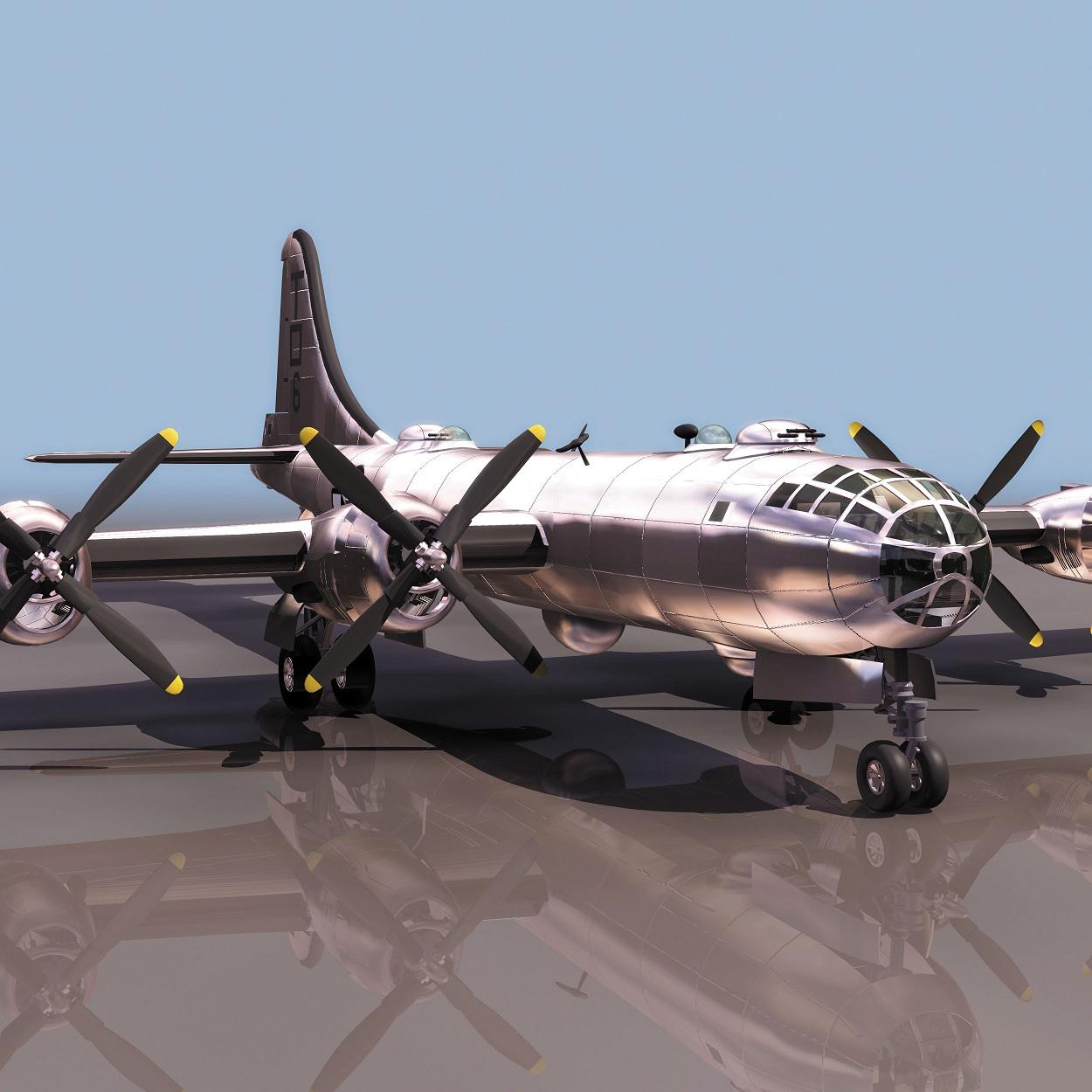 飞机3D模型系列 19-20世纪飞机历史博物馆 B-29轰炸机 B-29轰炸机命名延续自B-17飞行堡垒,是美国陆军航空队在第二次世界大战亚洲战场的主力战略轰炸机,是二次大战时各国空军中最大型的飞机,也是当时集各种新科技的最先进的武器之一,被称为史上最强的轰炸机。 模型格式是3DS,压缩包内含有模型贴图。 点:6160 面:9960 喜欢飞机的朋友请下载