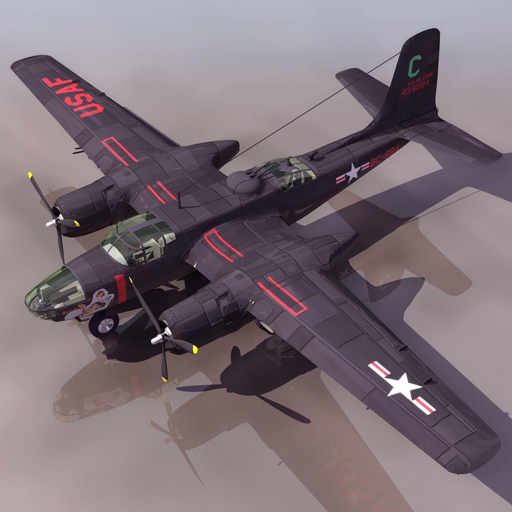 飞机3d模型系列 19-20世纪飞机历史博物馆 道格拉斯a-26侵略者