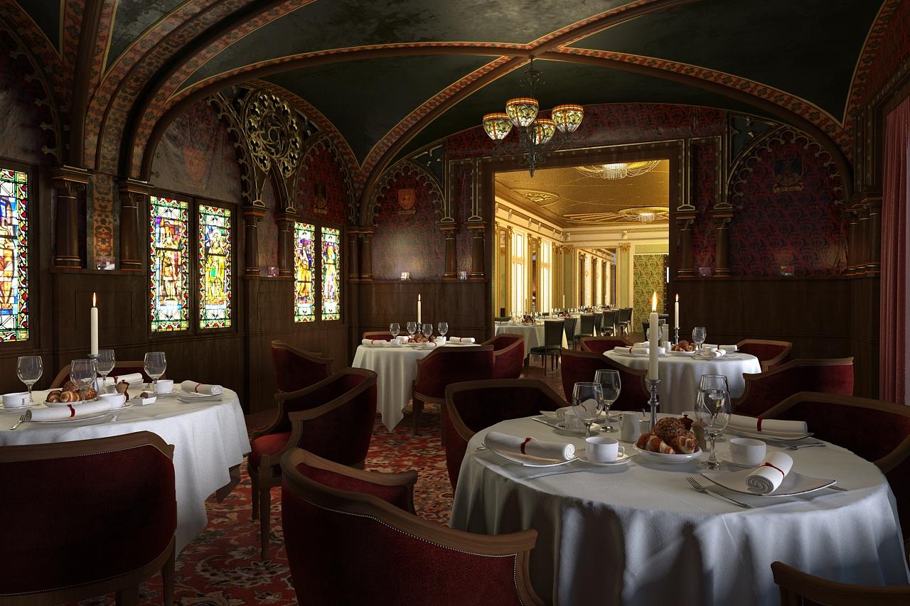 豪华欧式风格室内3d模型 西餐厅