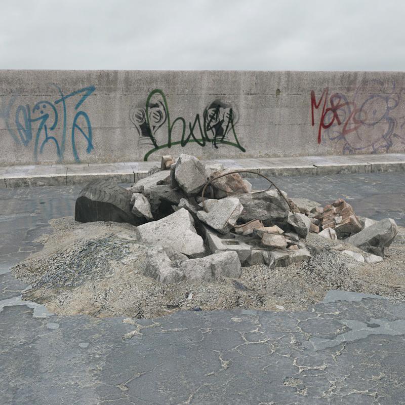 废弃石料 石墙残骸