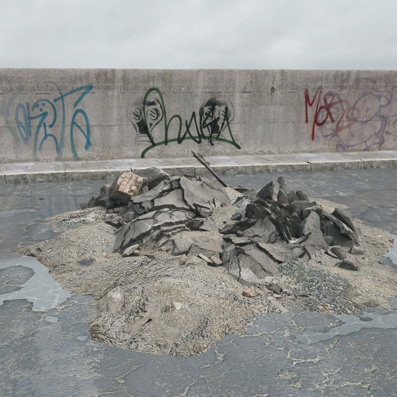 废弃砖块 瓦片